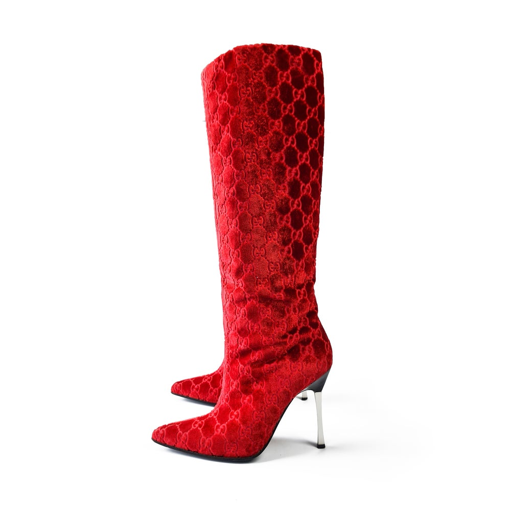 Image of Gucci by Tom Ford Velvet Boots