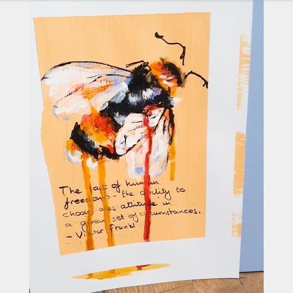 Image of 'Bee Study I' Original mixed media oil painting on paper - framed