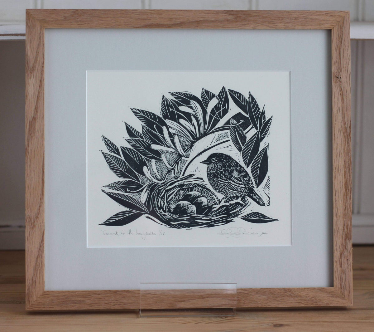 Image of 'Dunnock in the honeysuckle' framed linocut