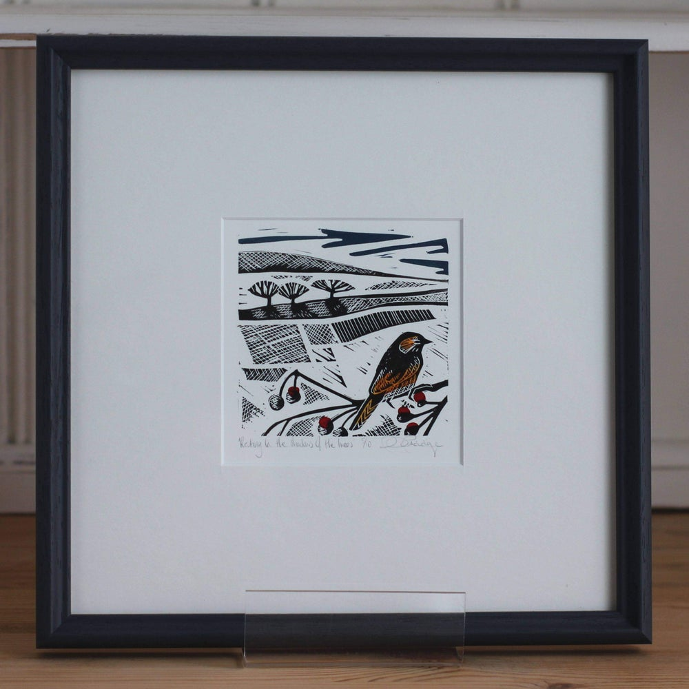Image of 'Resting in the shadows of the trees' framed linocut