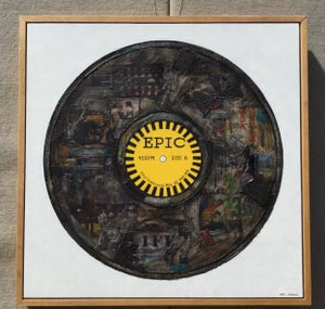 """Image of 36"""" x 36"""" Epic Record- Original Collage/Framed"""