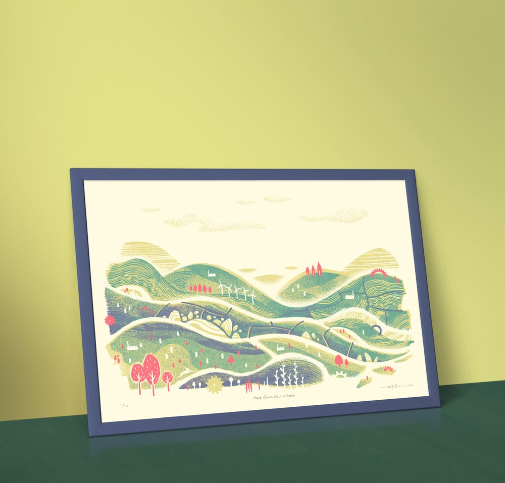 Image of These Flowing Hills of Plenty - A2 Landscape Silkscreen Print