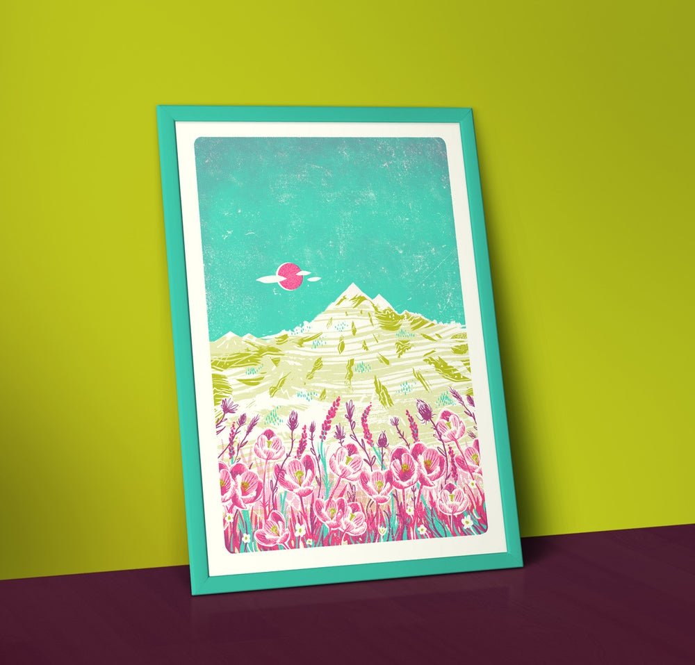 Image of Mountain Flowers - A2 Silkscreen Landscape Print
