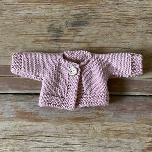 Image of Knitted cardigan to suit 32cm Miniland doll - 'soft pink'