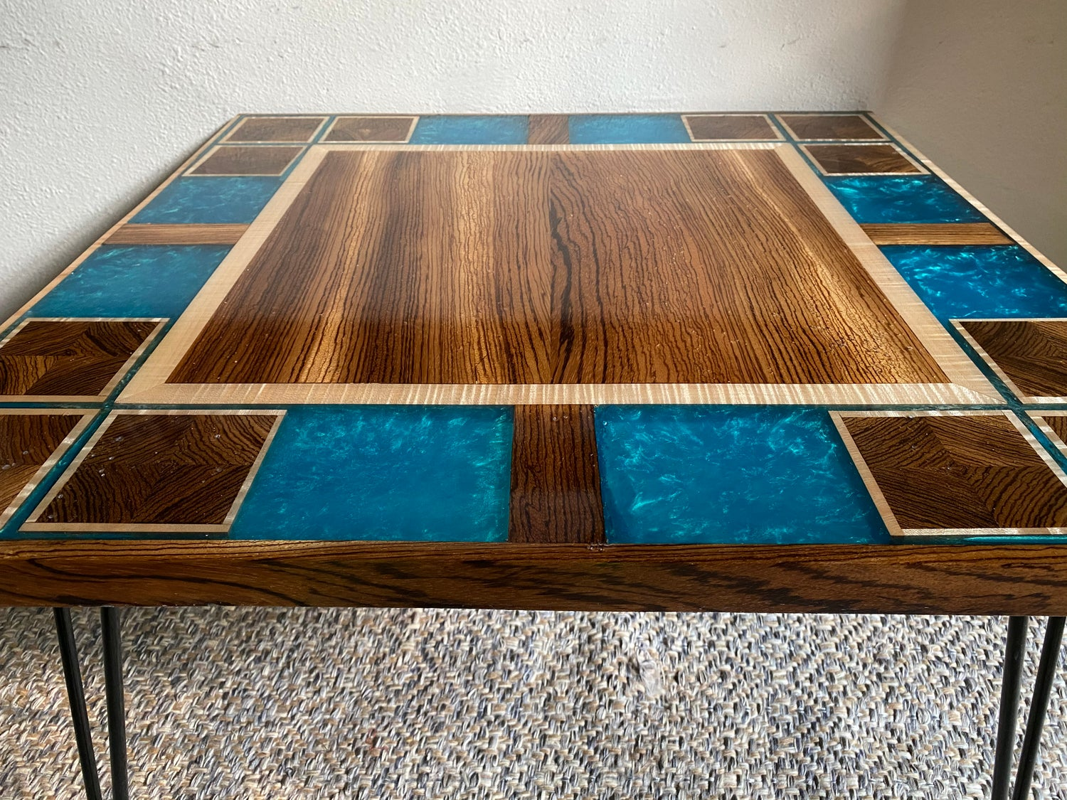 Image of Epoxy Zebra Wood Tiger Maple Table