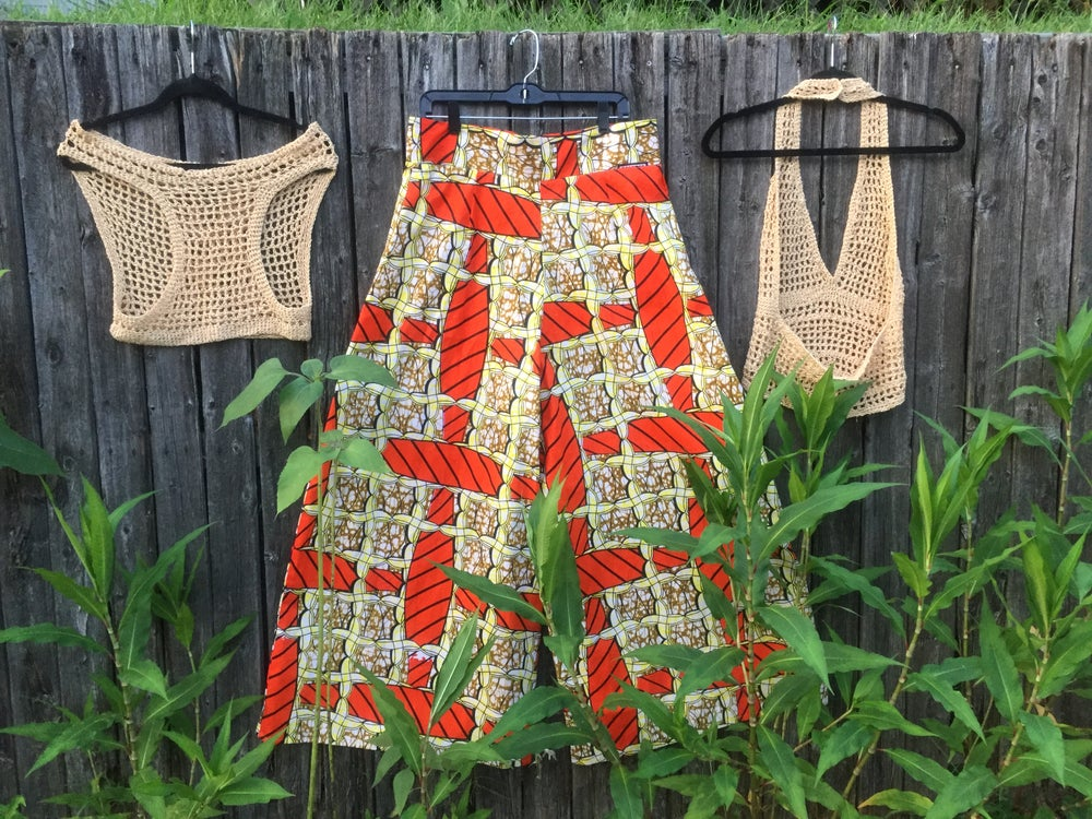 Image of Orange & Gold Extra Wide Palazzo Pant