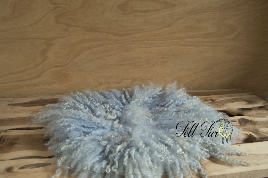 Image of Vintage Grey Blue Curly Fringe Felted Napkin (D64), Newborn Photography Wool Prop. Size D. RTS