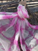 Image of Superfine Australian Merino Wool Scarf - Shibori Dyed -Pink/natural