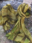 Image of Pure Wool Scarf - Shibori dyed - Green mix