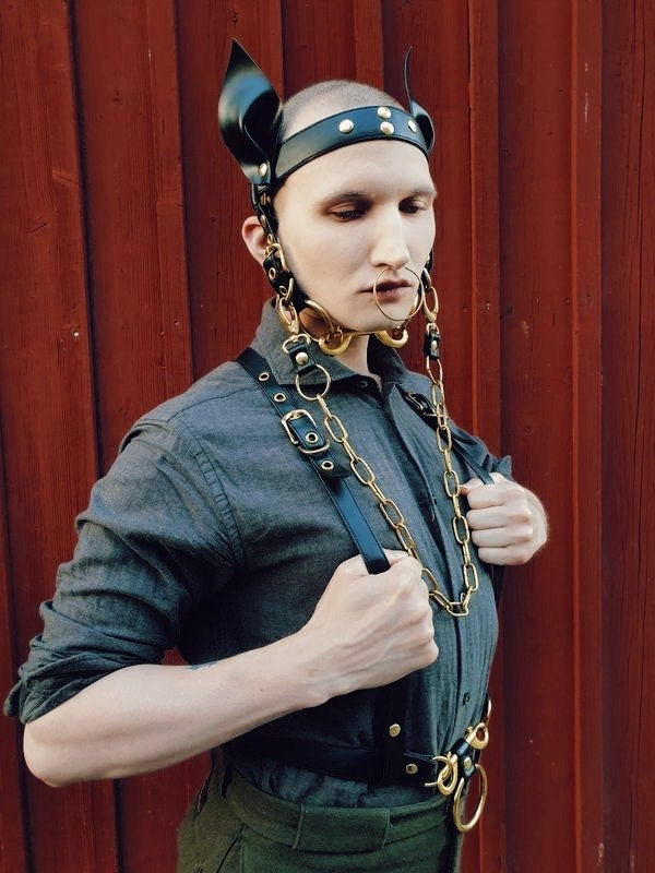 Pony play head harness vegan leather and gold