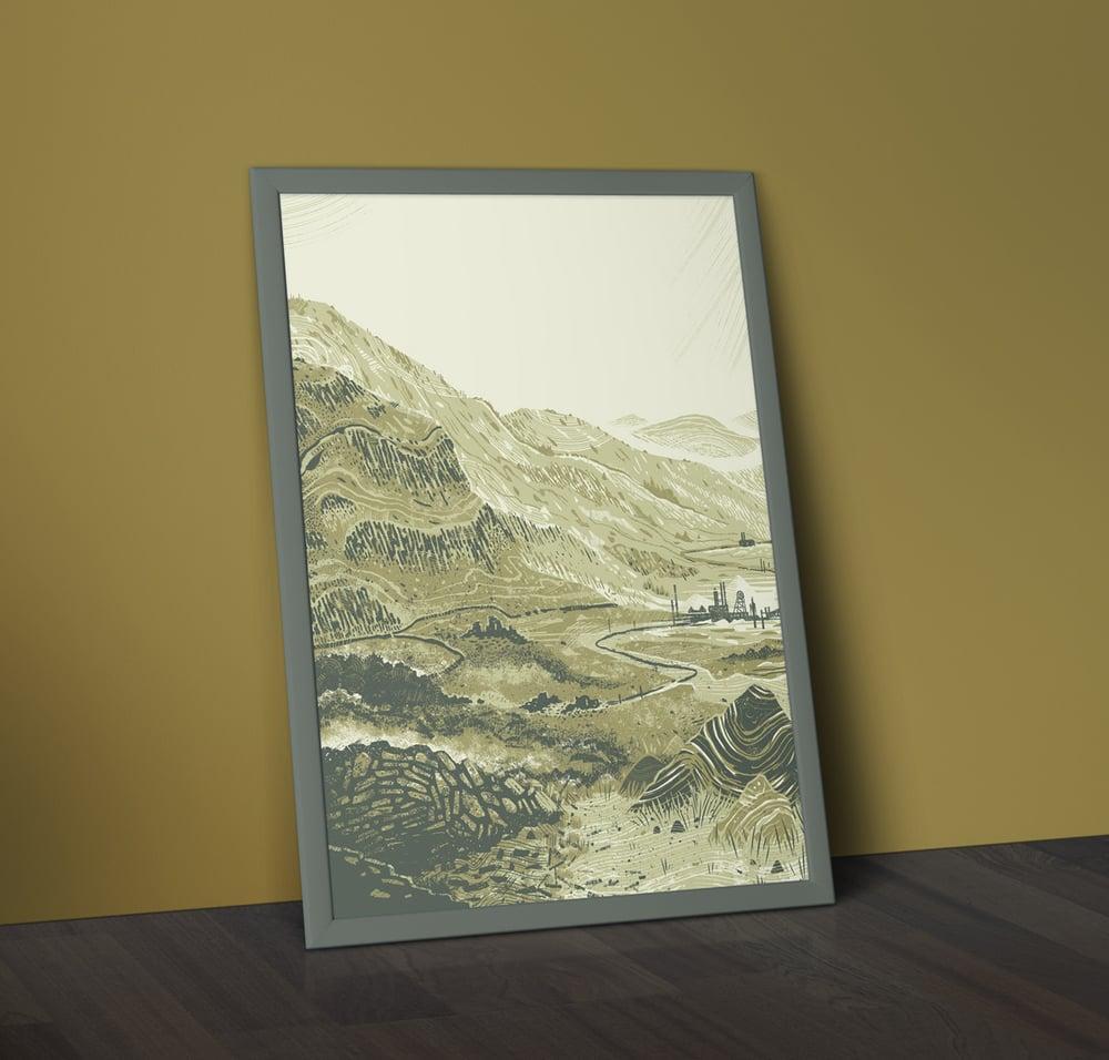 Image of Mynydd (v1) - A2 Welsh Landscape Silkscreen Print