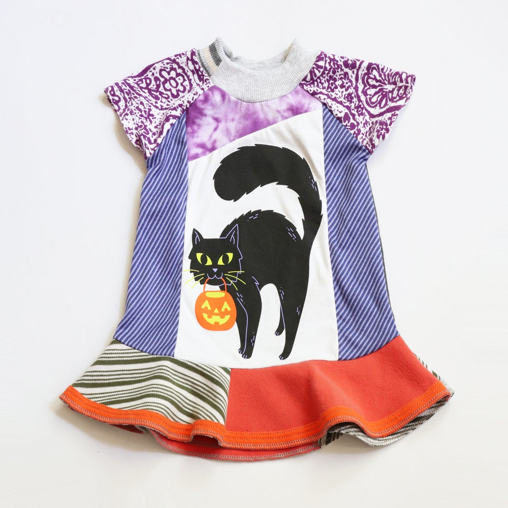 Image of black cat kitty pumpkin happy halloween gift 12m baby dress courtneycourtney short sleeve patchwork