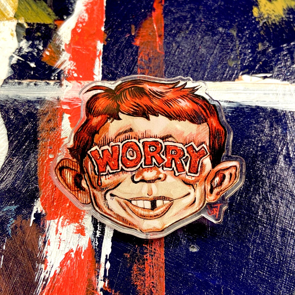 Image of VICTORY SALE-HALF OFF- EXTRA LARGE WORRY ACRYLIC PIN