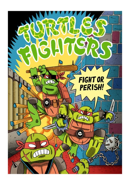 Image of Turtles Fighters - A3 print