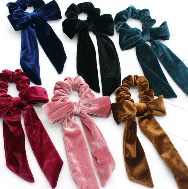 Image of Velvet Bow Tie Scrunchies - Choice of 6 Colours