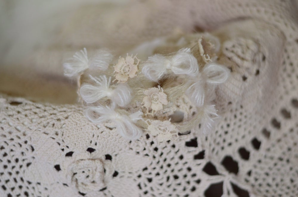 Image of Mohair bows and vintage flowers headband