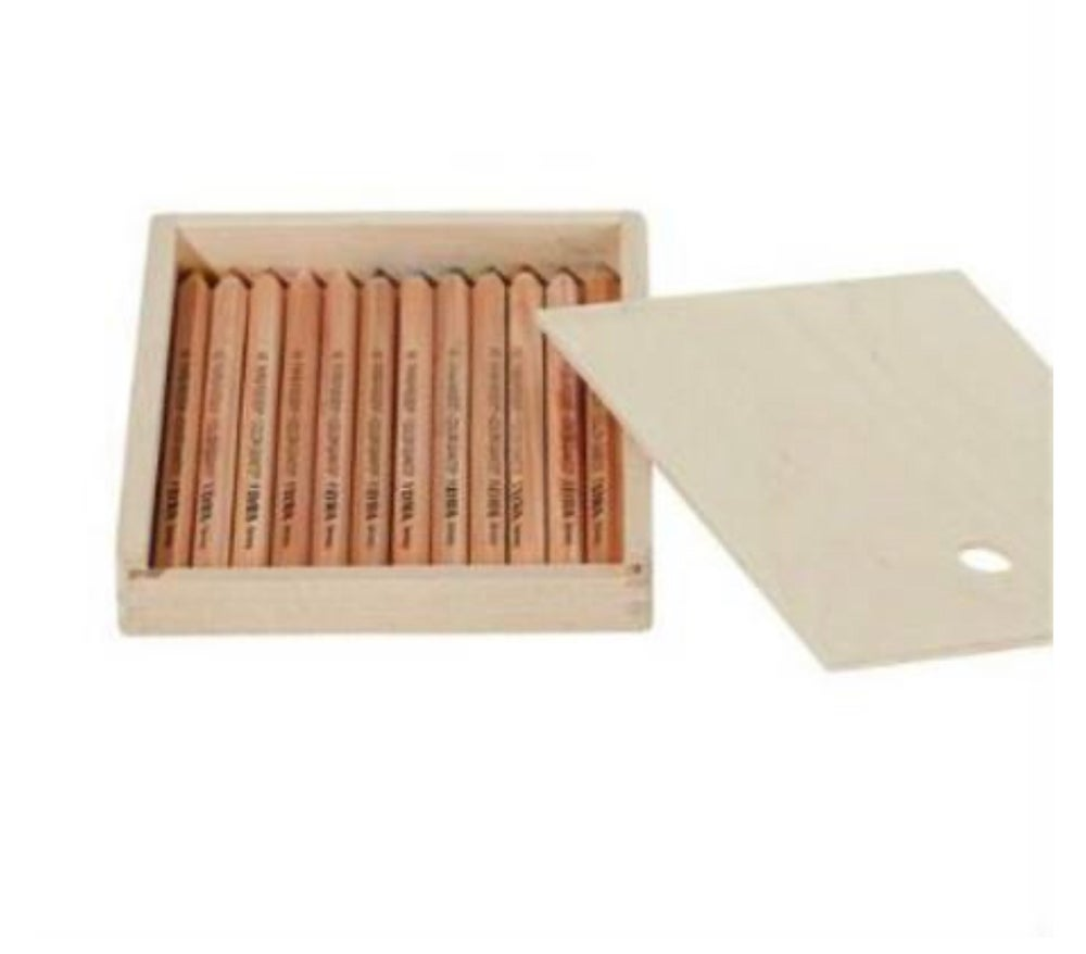 Image of Lyra colour giants 12 unlaquered assorted w gold and silver in Wooden pencil case