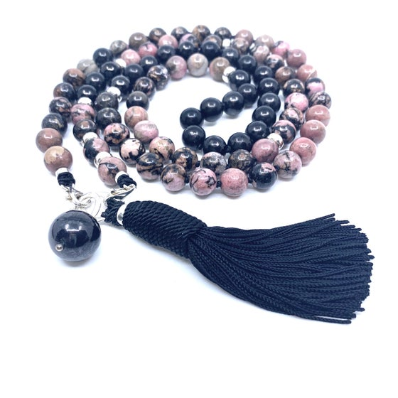 Image of New! Double Infinity Rhodonite Mala 88