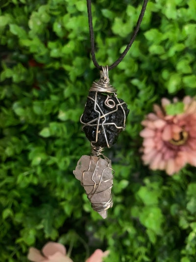 Image of Custom Wire Wrapped Double Drop Pendant
