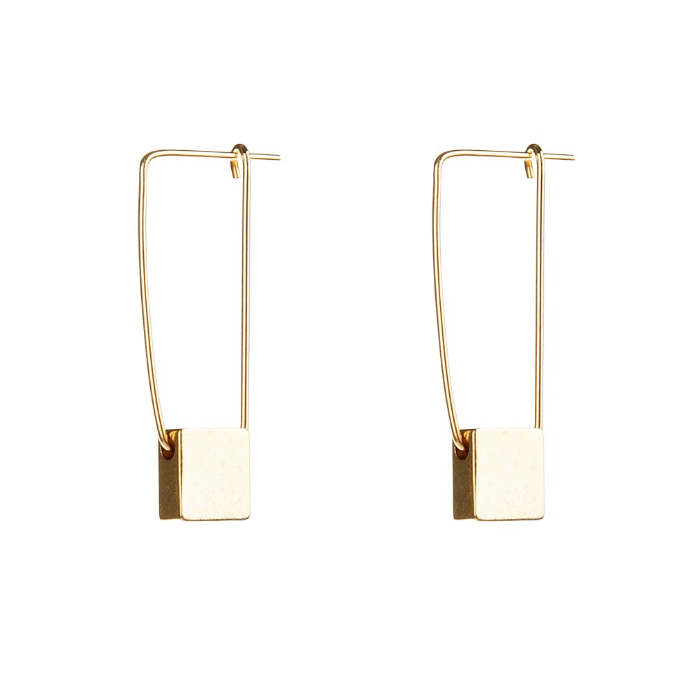Image of Gold cube earrings