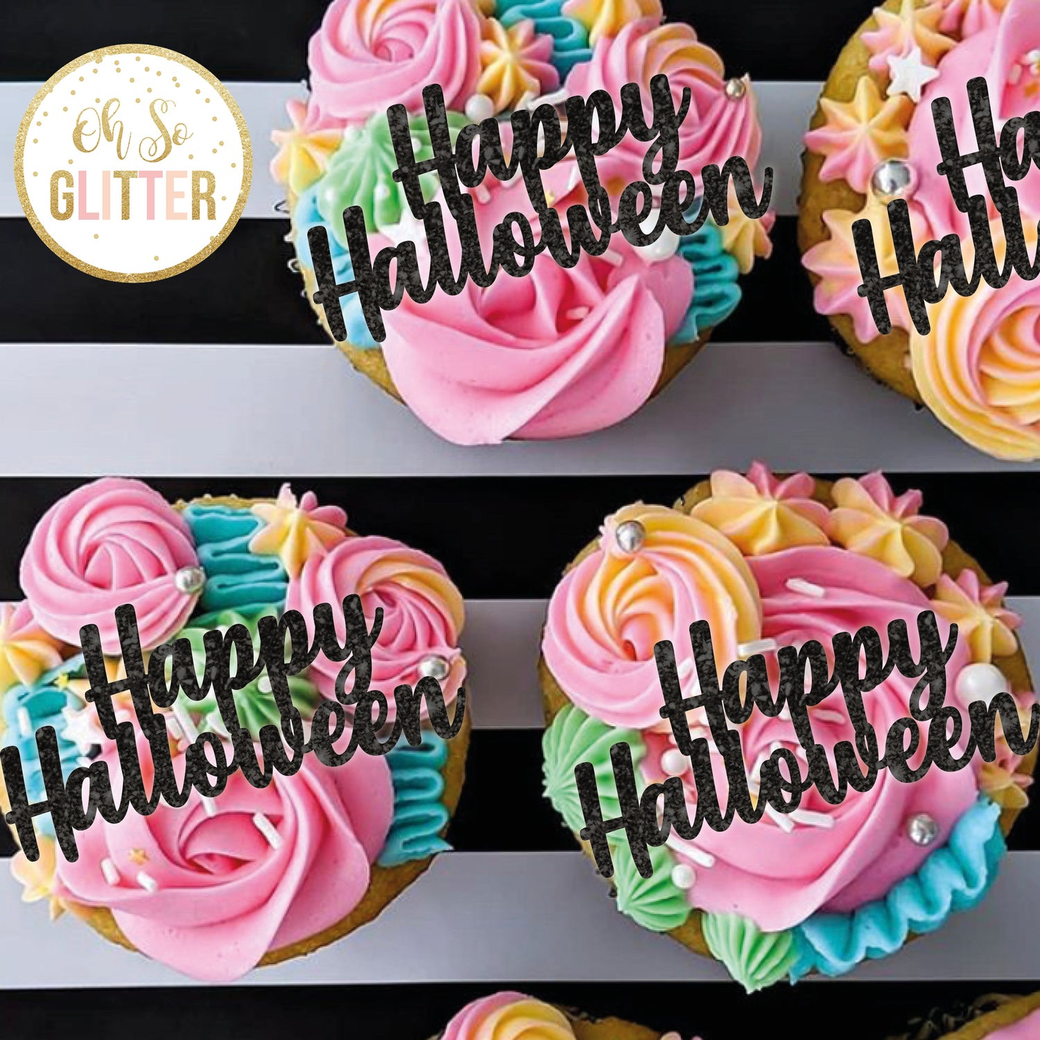 Image of Happy Halloween - cupcake toppers - no sticks