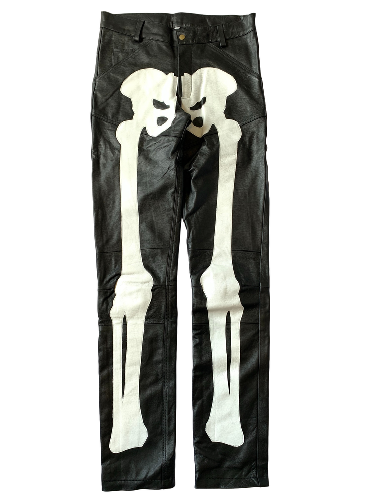 Image of BLACK AND WHITE BIKER BONES LEATHER PANTS