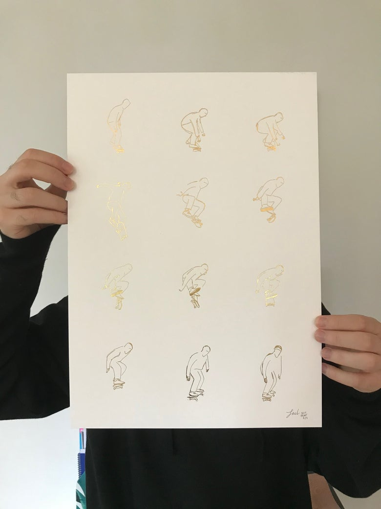Image of Trent kickflip - A3 Gold foil print (charity fundraiser for Exeter Cavern!)