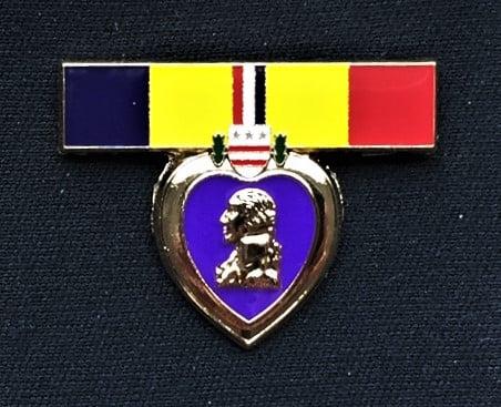 Image of Purple Heart US Marine, Navy,  Coast Guard Combat Action Ribbon Pin