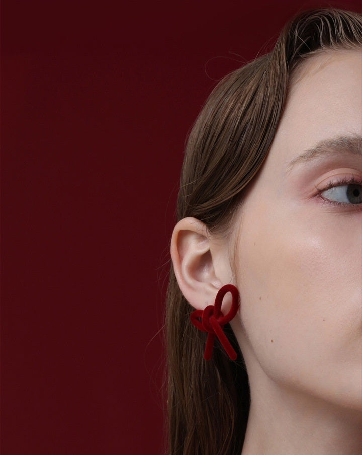 Red Velvet Bow Earrings