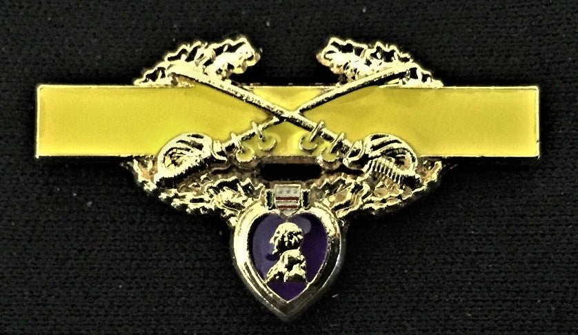 Image of Purple Heart US Cavalry Combat Badge Pin