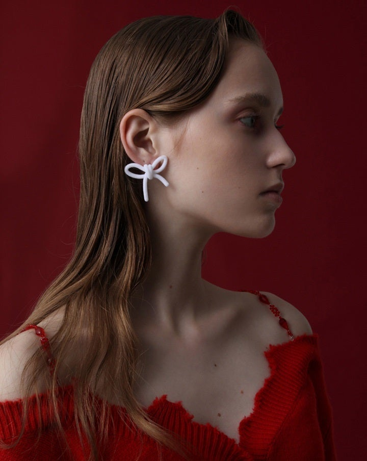 White Velvet Bow Earrings