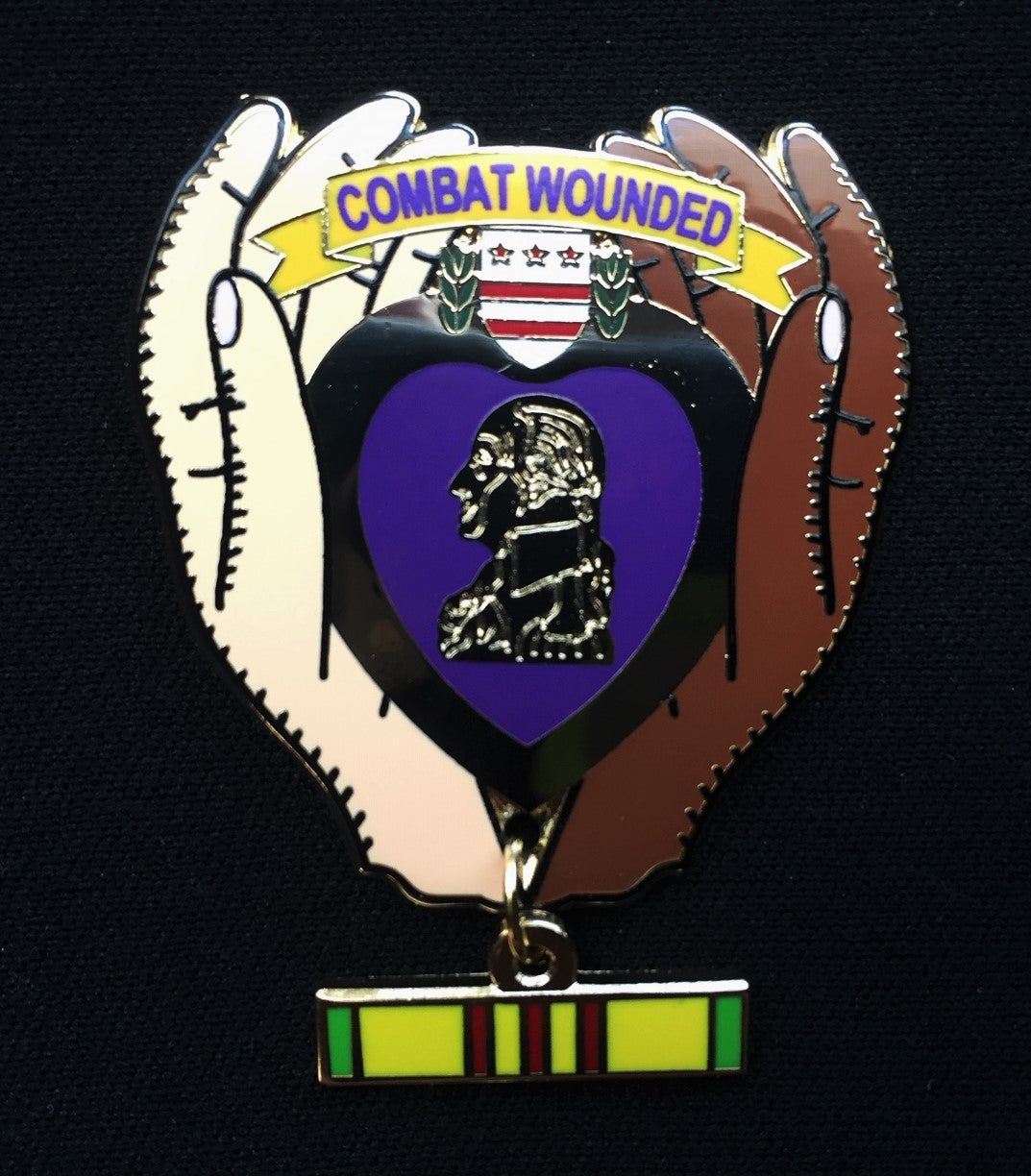 Image of Purple Heart Combat Wounded Vietnam Veteran Clasping Hands Pin