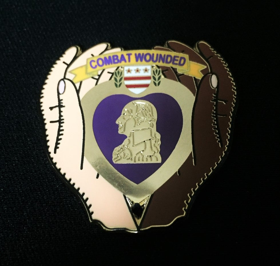 Image of Purple Heart Combat Wounded Clasping Hands Pin