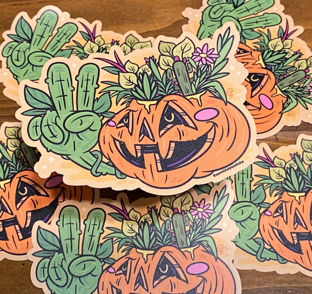 "Image of Pumpkin Plants 4"" Sticker"