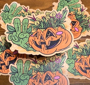 "Image of Pumpkin Plants 4"" Sticker"