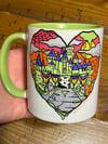 Halloween Castle Love Green Mug