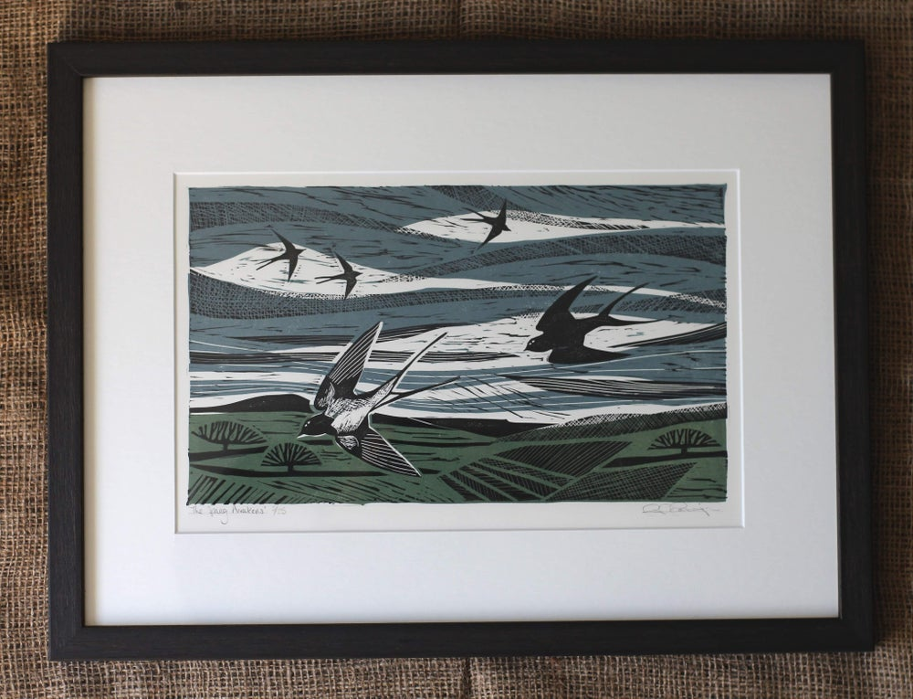 Image of 'The spring awakens' original linocut in frame