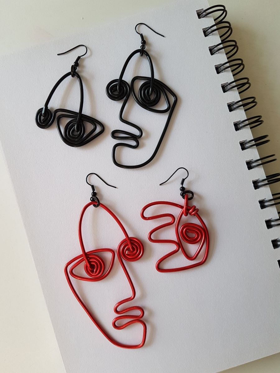 Image of doodle face earrings #3