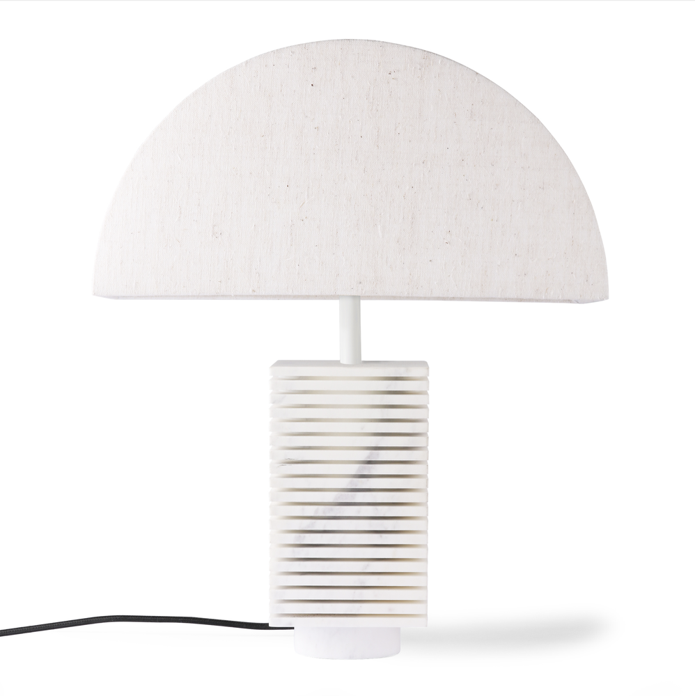 Image of Fluted marble table lamp with semi-circle shade