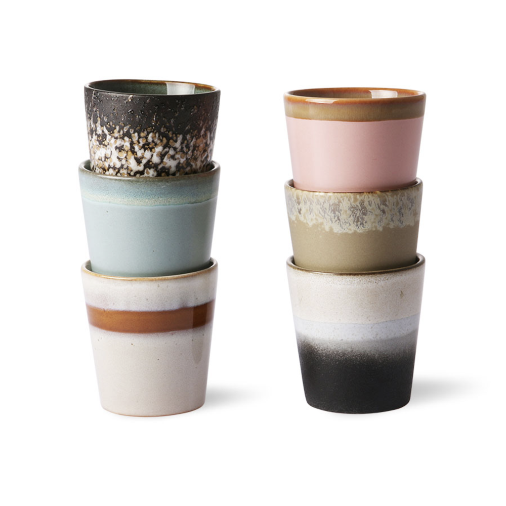 Image of 70s style mugs pastel - set of 6
