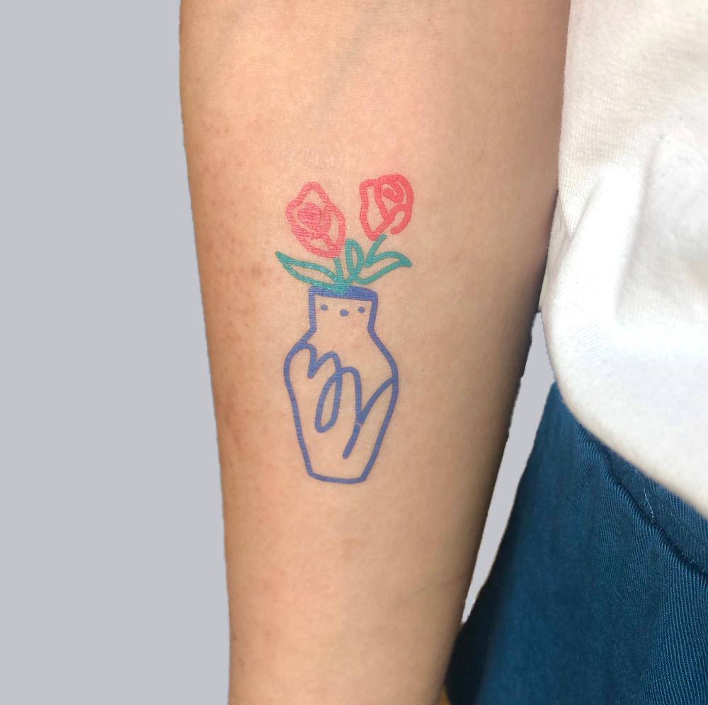 Image of Scribbly Vase - Temporary Tattoo