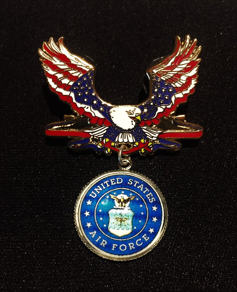 Image of US Air Force Veteran Patriotic Eagle Pin
