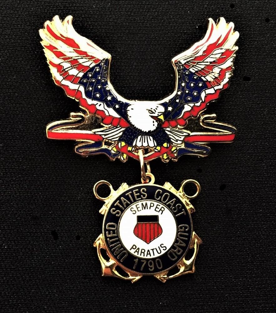 Image of US Coast Guard Veteran Patriotic Eagle Pin