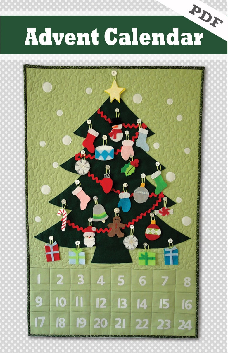 Image of Quilted Advent Calendar and Ornaments - PDF pattern