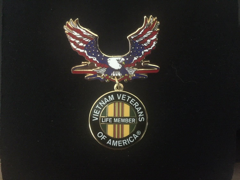 Image of Vietnam Veterans Of America Life Member Patriotic Eagle Pin