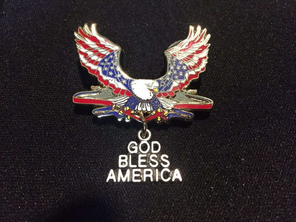 Image of God Bless America Patriotic Eagle Pin