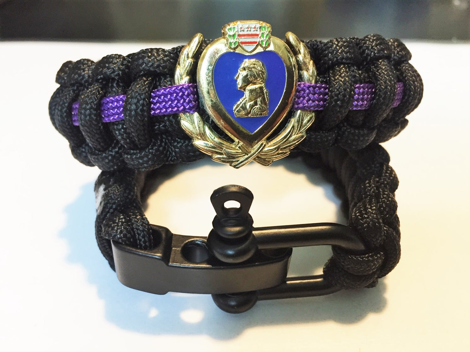 Image of Purple Heart Wreath Black Para Cord Bracelet