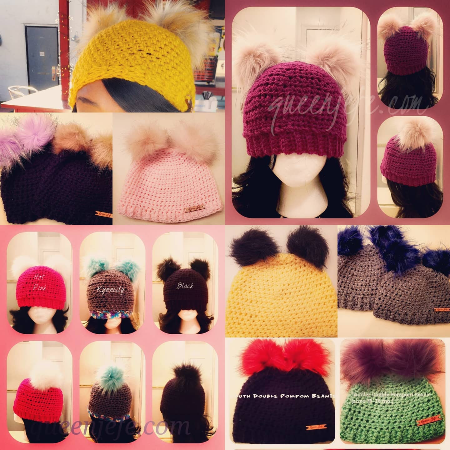Image of Double Pompom Beanie- Adult Large