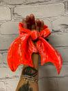 Neon Orange Velvet Bat Wing Scrunchie