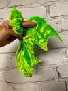 Neon Slime Green Velvet Bat Wing Scrunchie